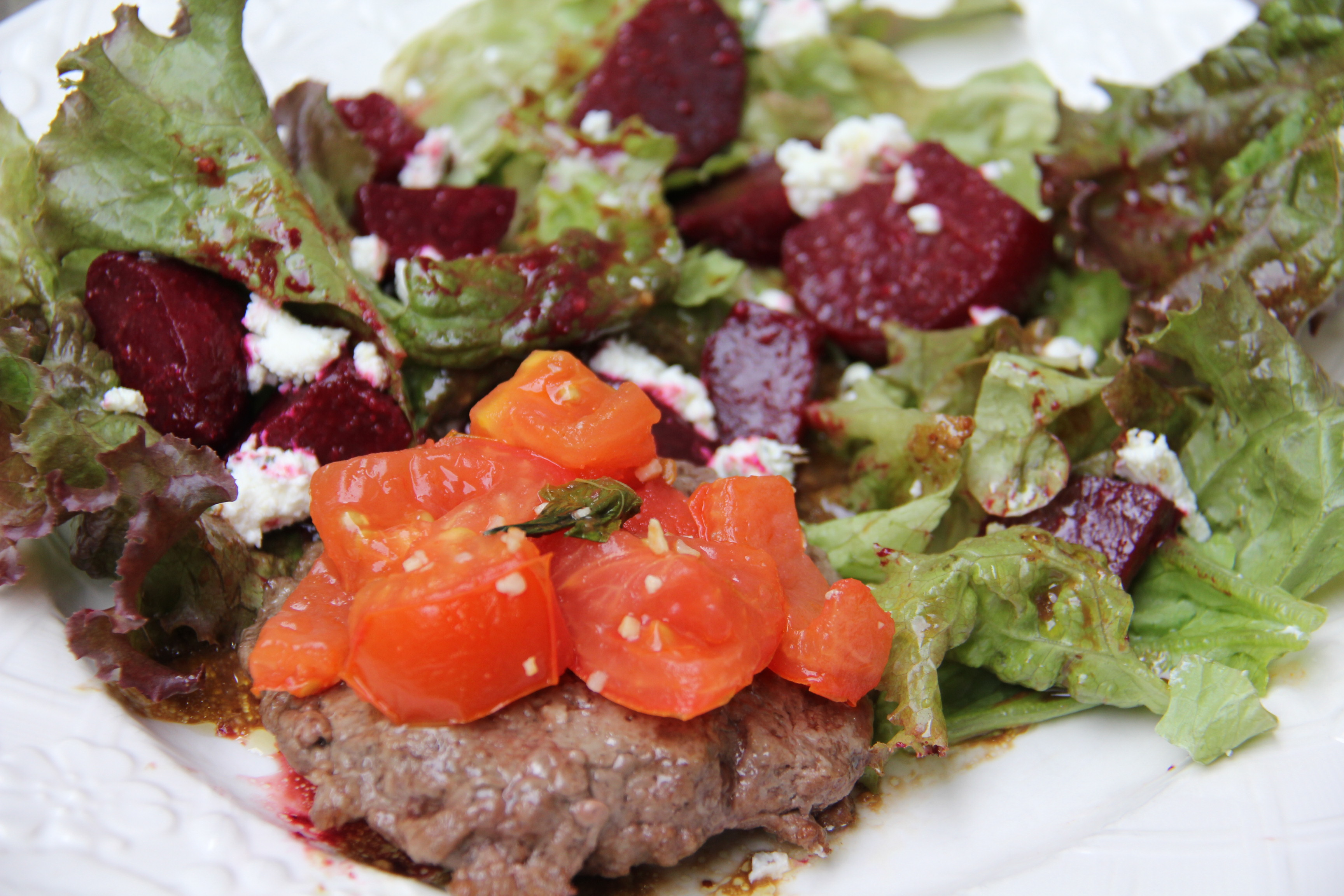 Bruschetta Tomato Hamburger with Beet Salad
