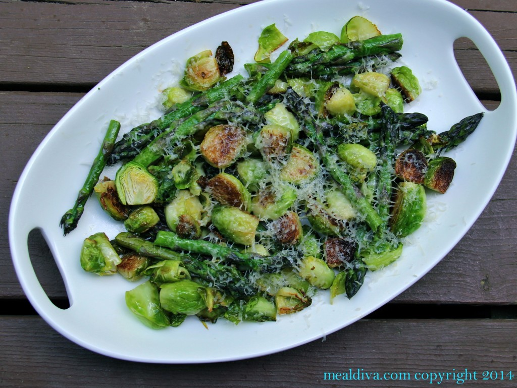 easy baked asparagus brussel sprout