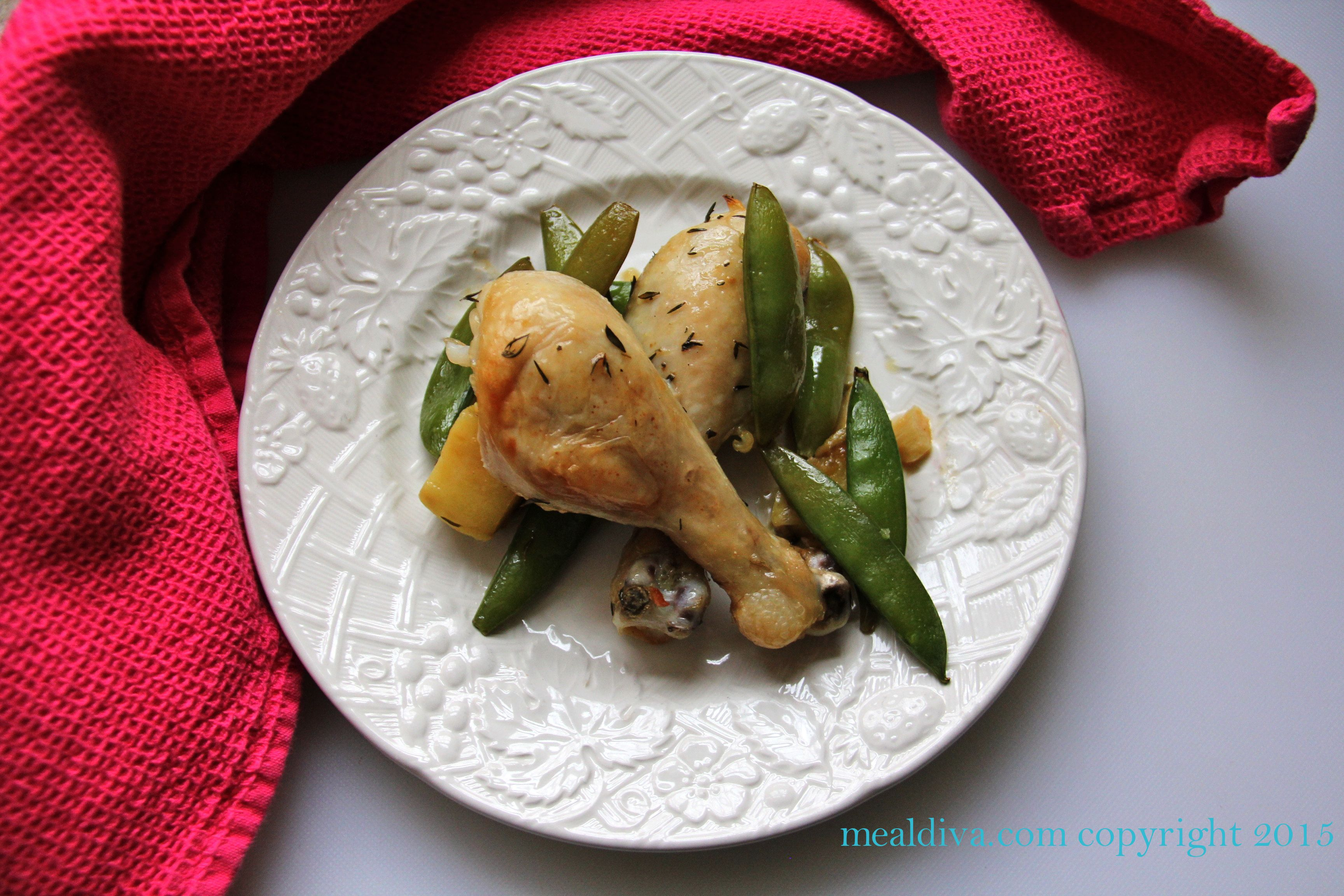 Paleo Lemon & Thyme Chicken with Snap Peas