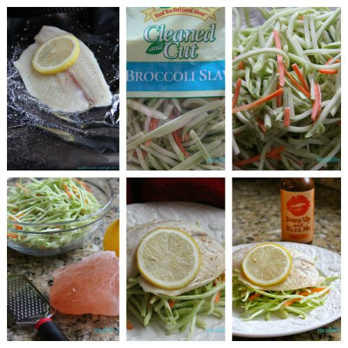 lemon fish broccoli slaw