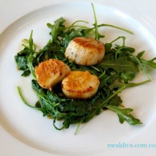 Scallops with Wilted Spinach and Arugula #WeekdaySupper