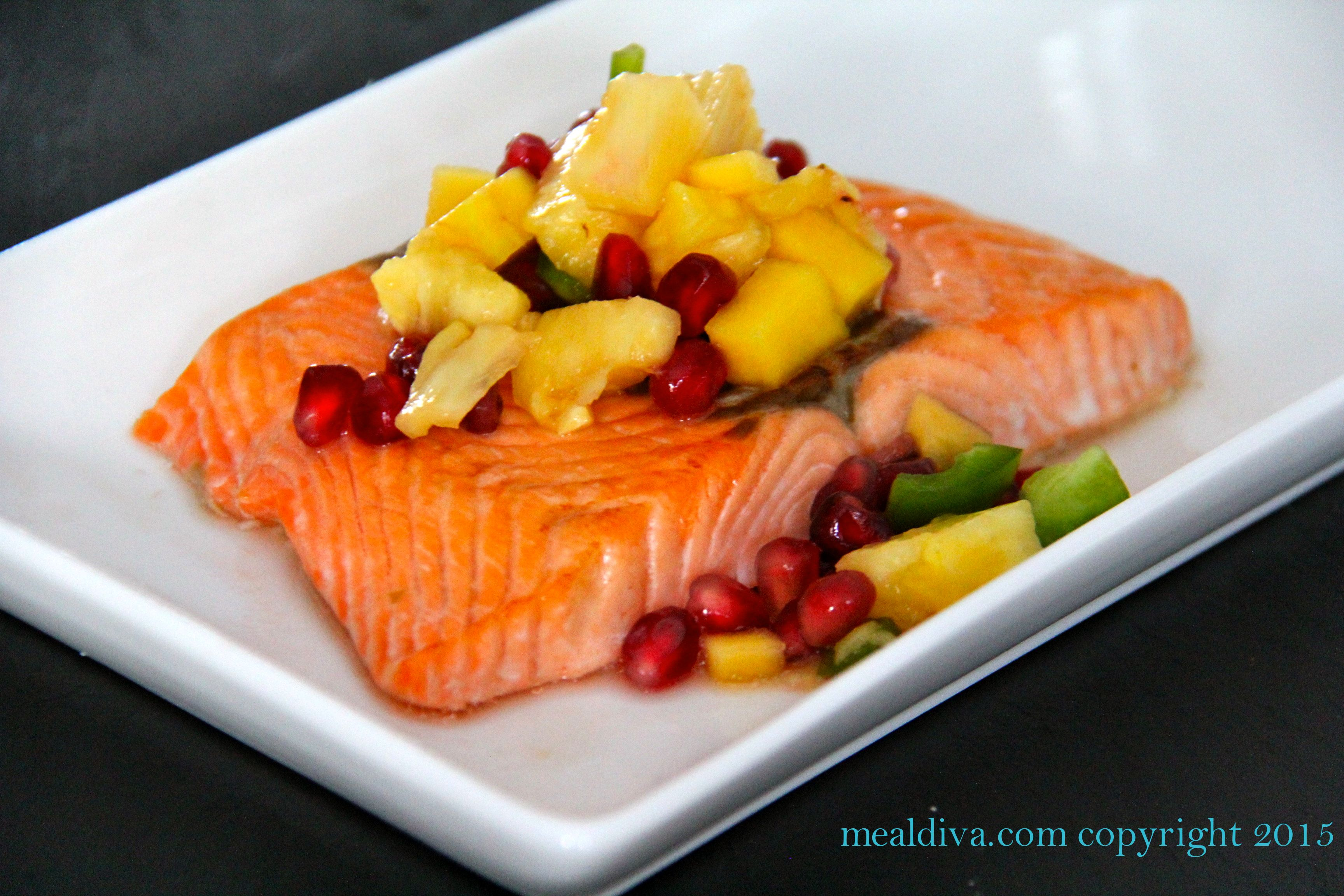 Sweet Salmon with Pomegranate Fruit Salsa