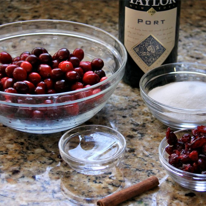 ... dried cranberries, pot, cinnamon, water and sugar make a yummy sauce