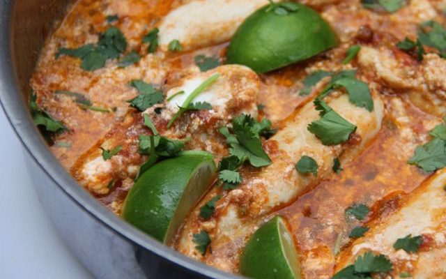 One Pan Taco Salsa Chicken Dinner with Cilantro and Lime