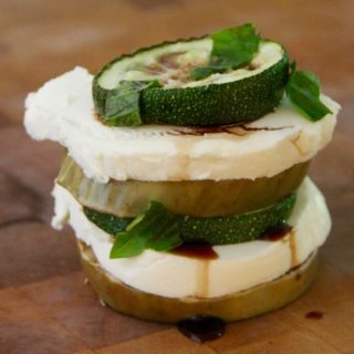 Eggplant Zucchini Stacked Salad with Fresh Mozzarella